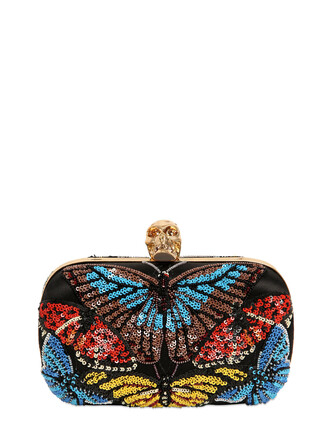 skull butterfly embellished clutch bag