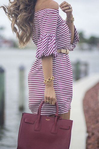 dress tumblr off the shoulder off the shoulder dress stripes striped dress summer outfits summer dress mini dress bag red bag bracelets jewels jewelry
