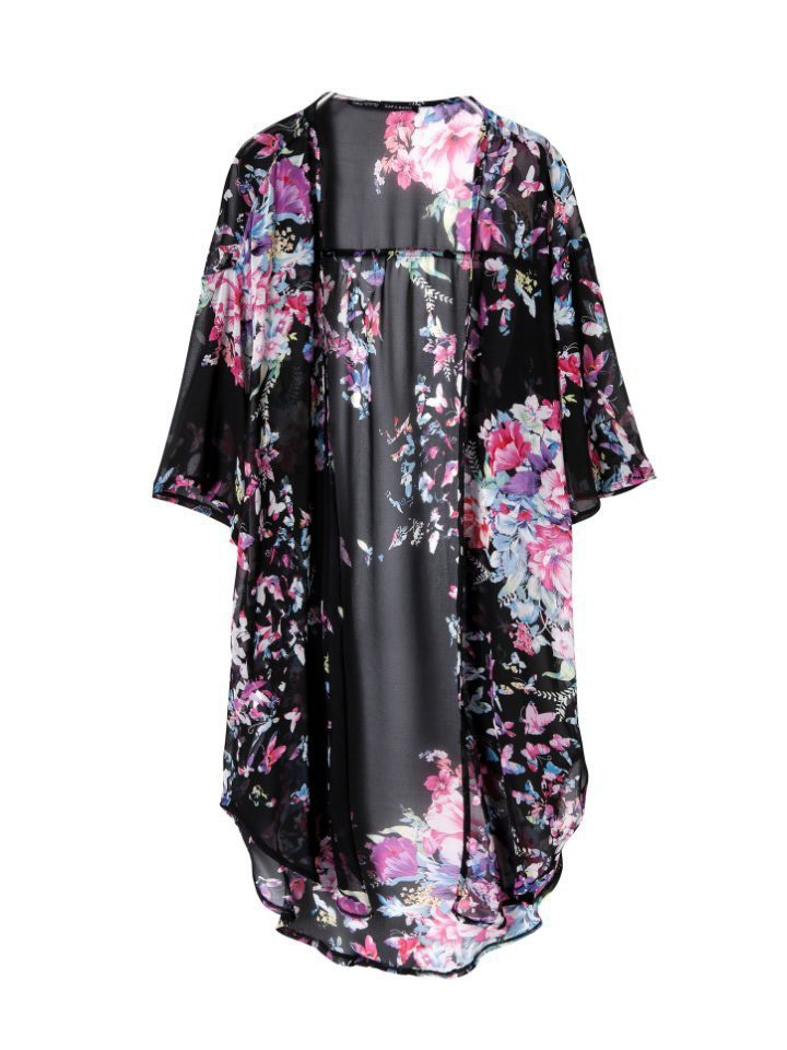 Sleeved loose black butterfly printed kimono cardigan