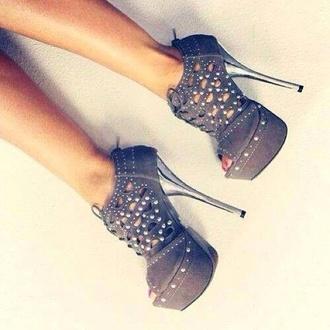 shoes grey heels high heels cute high heels white rhinestones