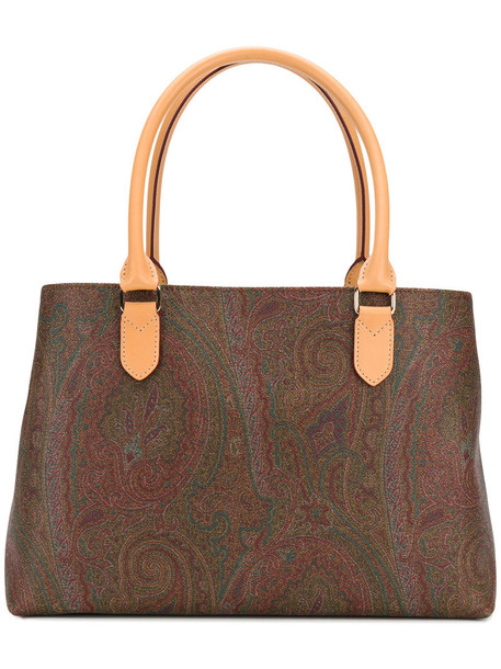 ETRO women bag tote bag leather print brown paisley