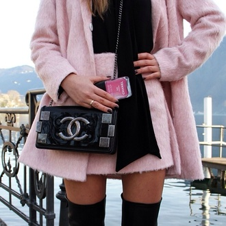 skirt pink pink jacket fur fur skirt fur jacket chanel bag