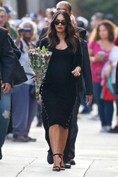 dress,sandals,midi dress,bodycon dress,megan fox,maternity dress,black dress,necklace,cardigan