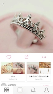jewels,ring,crown ring,silver,princess,princess ring,black fingerless gloves,disney ring,dimond