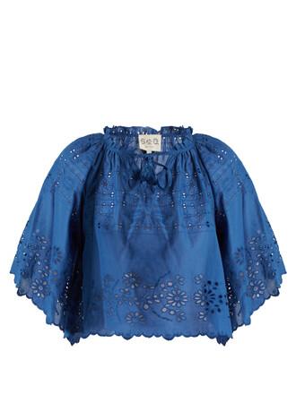 top cotton blue