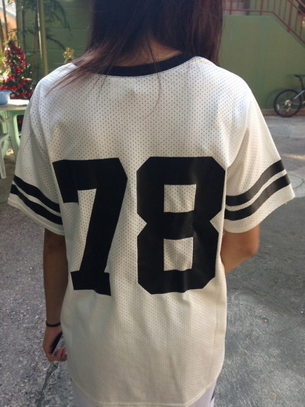 jersey black and white t-shirt top baseball numbers tee-shirt football oversized girly shirt cute 78 alexander wang tumblr girl tumblr white dress