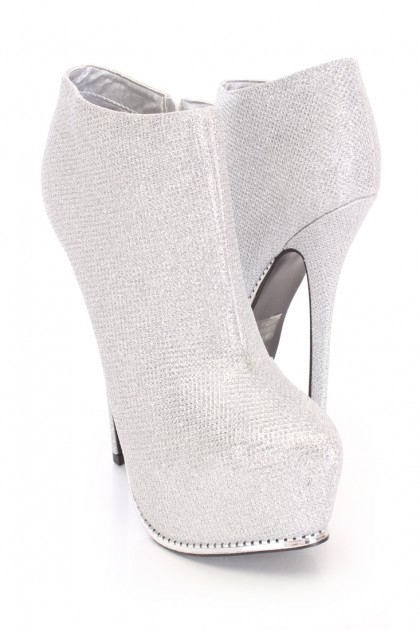 Silver platform ankle booties glitter