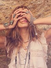 jewels,boho,slave bracelet,silver,gypsy,handpiece,free people,hippie chic,hand jewelry,zuni,tribal pattern