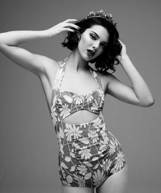 swimwear one piece swimsuit kendall jenner editorial floral model