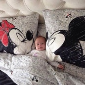 jewels,disney,black,white,black and white,mickey mouse,minnie and mickey,minnie mouse,red,cute,bedding,pillow,grey,cartoon,creative pillows designs,tank top,t-shirt,disneyland,topolino,bag,underwear,white printed bed linen,bed linen,pajamas,home accessory,kids room,baby