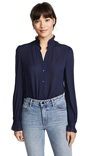 L'Agence blouse navy top