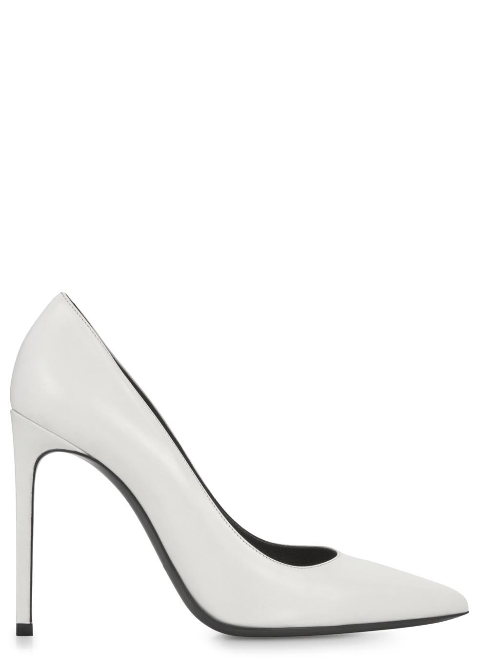 White pointed leather pumps  - Women