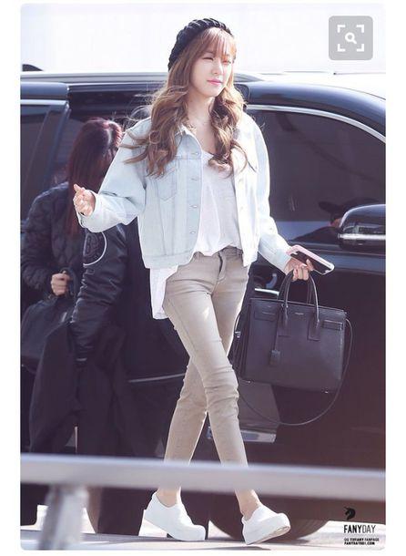bad3bd59f jacket tiffany hwang snsd streetstyle celebrity denim jacket jeans sneakers korean  fashion korean style korean celebrities