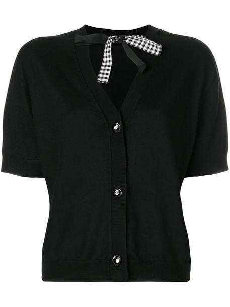 Miu Miu - shortsleeved cardigan - women - Silk/Virgin Wool - 40, Black, Silk/Virgin Wool