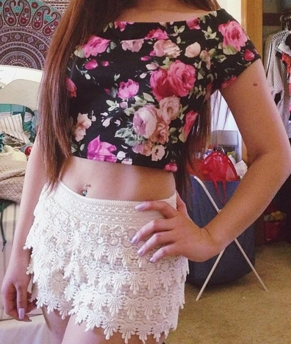 skirt floral lace white crop tops shorts
