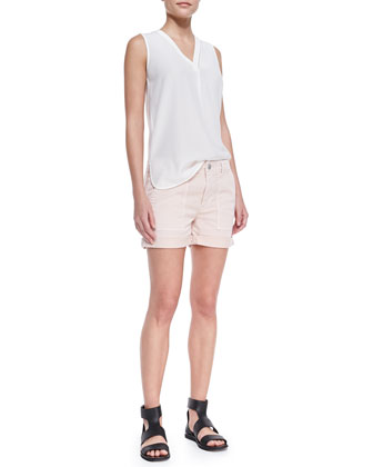 Vince Sleeveless Silk V-Neck Blouse & Cuffed Patch-Pocket Twill Shorts