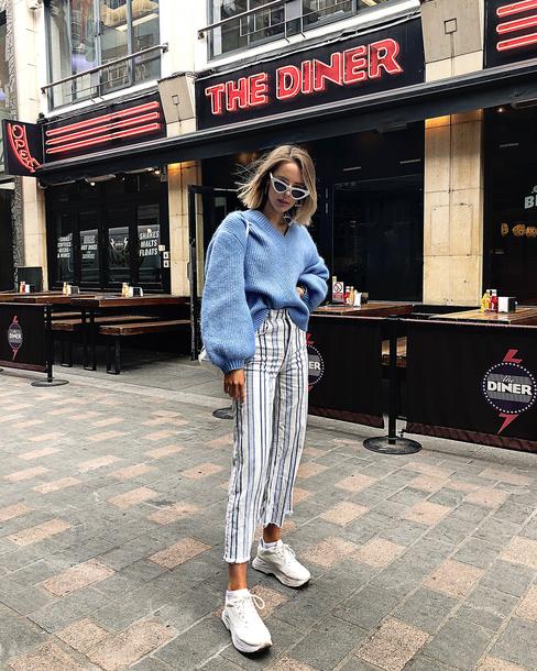 pants stripes shoes sunglasses sweater