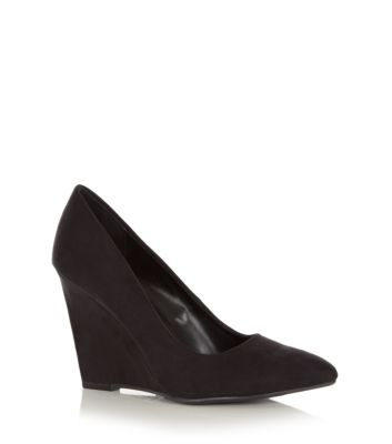 Black Pointed Wedge Court Shoes