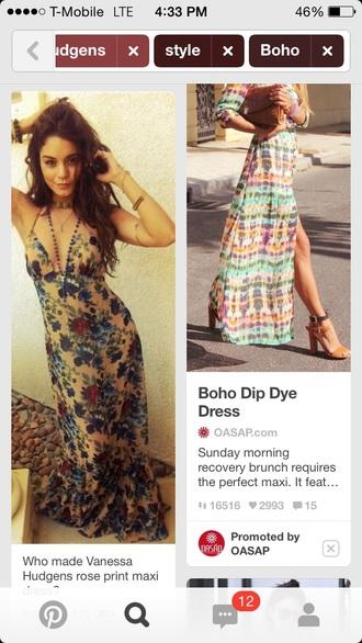 dress maxi dress low-cut dresses vanessa hudgens floral dress