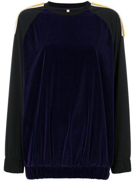 No Ka' Oi - embroidered sweatshirt - women - Polyamide/Polyester/Polyurethane/Spandex/Elastane - 3, Black, Polyamide/Polyester/Polyurethane/Spandex/Elastane