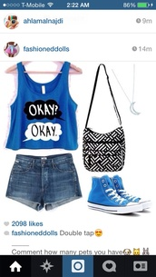shirt,the fault in our stars,blue skirt,blue shirt,blue converse,denim shorts,moon necklace,purse,top,dark blue,blouse,t-shirt,tank top,blue,tfios shirt,tfios blue okay? okay.,bag,shoes,saddle bag,high top converse,style,fashion,shorts,jewels