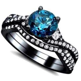 jewels blue diamond engagement ring black gold ring set exquisite black engagement ring with blue cz diamond evolees.com