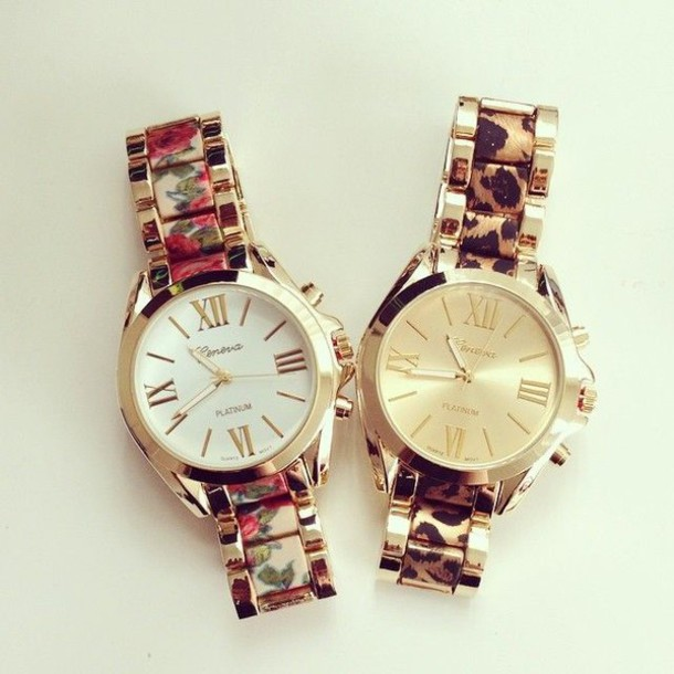 jewels flowers watch folral gold