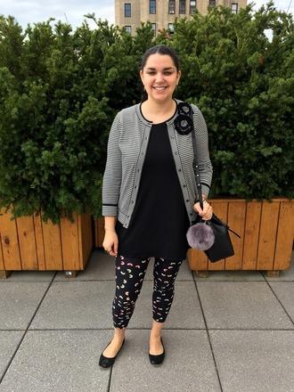 fashionablecollections blogger jewels cardigan t-shirt leggings shoes bag shoulder bag bucket bag ballet flats