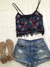 shirt,shorts,top,hippie,denim shorts,sandals,tank top,crop tops,birds,cute,fringes,black,colorful,tight,beach,outfit,blouse,coachella,90s style,t-shirt,shoes,jeans,jean shorts. short shorts. blue,blue shorts,ripped shorts,festival,cuffed shorts,clorful,summer,sweet