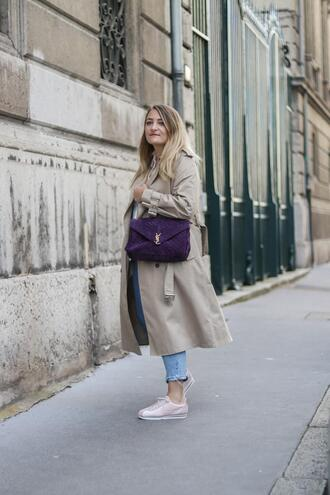 paris grenoble blogger coat blouse ysl bag bag trench coat spring outfits sneakers