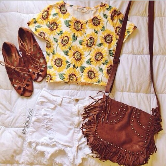 bag brown bag sunflower top white ripped shorts top shoes sandals