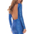 Blue Party Dress - Sapphire blue square backless dress | UsTrendy