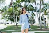 cuppajyo,blogger,romper,bag,shoes,sunglasses,long sleeves,long sleeve romper,blue romper,off the shoulder,round sunglasses,blue bag