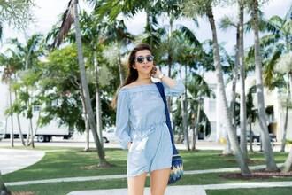 cuppajyo blogger romper bag shoes sunglasses long sleeves long sleeve romper blue romper off the shoulder round sunglasses blue bag