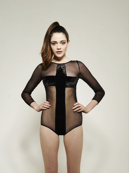 black cross top fashion grunge cool hipter dope trends long sleved one piece body suit velvet mesh bodysuit