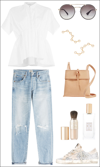 le fashion blogger shirt sunglasses jewels jeans bag outfit victoria beckham prada white blouse white t-shirt