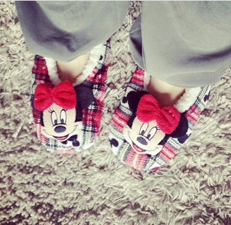 shoes pajamas slippers minnie mouse minnie and mickey night red red shoes cute shoes cute
