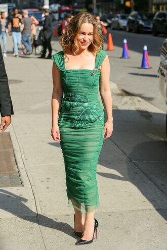 dress lace dress green dress bodycon dress midi dress pumps emilia clarke