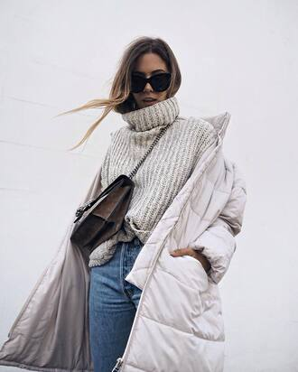 sweater nude sweater turtleneck turtleneck sweater denim jeans blue jeans bag quilted white coat coat sunglasses cat eye down jacket winter coat grey oversized turtleneck sweater