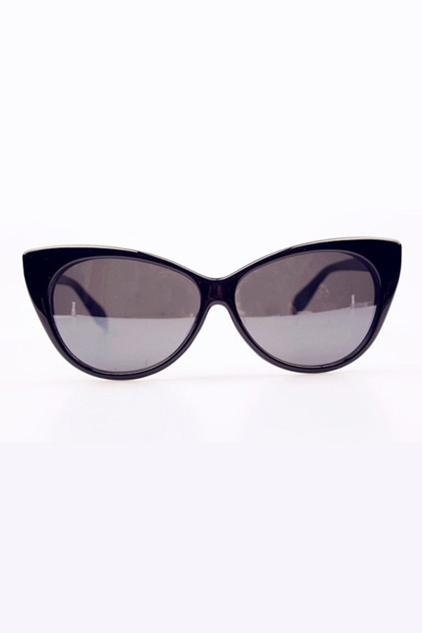 Glossy Black Oversized Cat Eye Sunglasses - OASAP.com