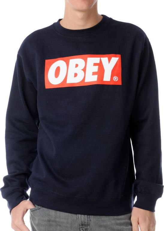 Obey Box Logo Navy Crew Neck Sweatshirt on Wanelo