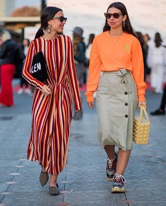dress striped dress grey skirt top orange top sunglasses maxi dress long sleeve dress long sleeves skirt sneakers streetstyle