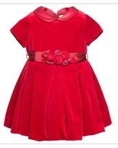 dress,red,baby,velvet