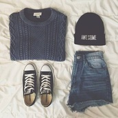 hat,black,white,bad hair day hat,sweater,shorts,tumblr,tumblr girl,tumblr clothes,shirt,High waisted shorts,jacket,grey,short,vans of the wall,beanie,blue knitted sweater,casual,cozy sweater,faded,bleached,blue