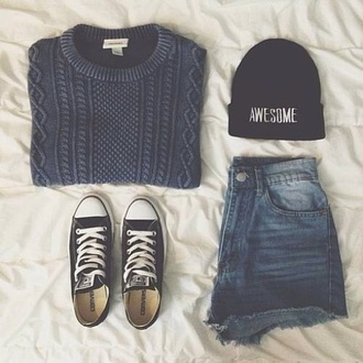hat black white bad hair day hat sweater shorts tumblr tumblr girl tumblr clothes shirt high waisted shorts jacket grey short vans of the wall beanie blue knitted sweater casual cozy sweater faded bleached blue