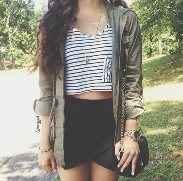 blouse stripes army green jacket crop pockets jacket