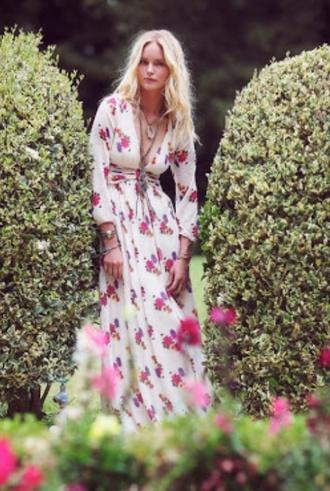 dress bohemian gypsy hippie floral pink