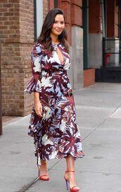 dress,keyhole dress,olivia munn,spring dress,spring outfits,midi dress,printed dress