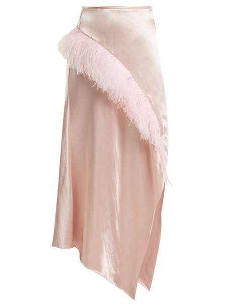 Marques'almeida - Asymmetric Hem Feather Embellished Satin Skirt - Womens - Pink