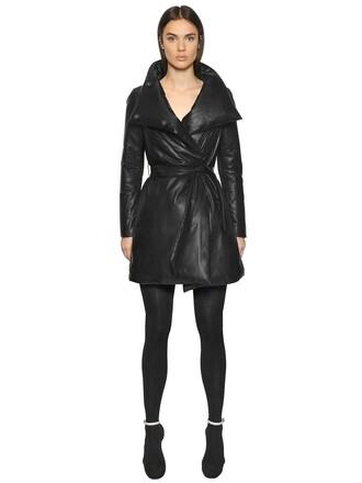 jacket down jacket leather black